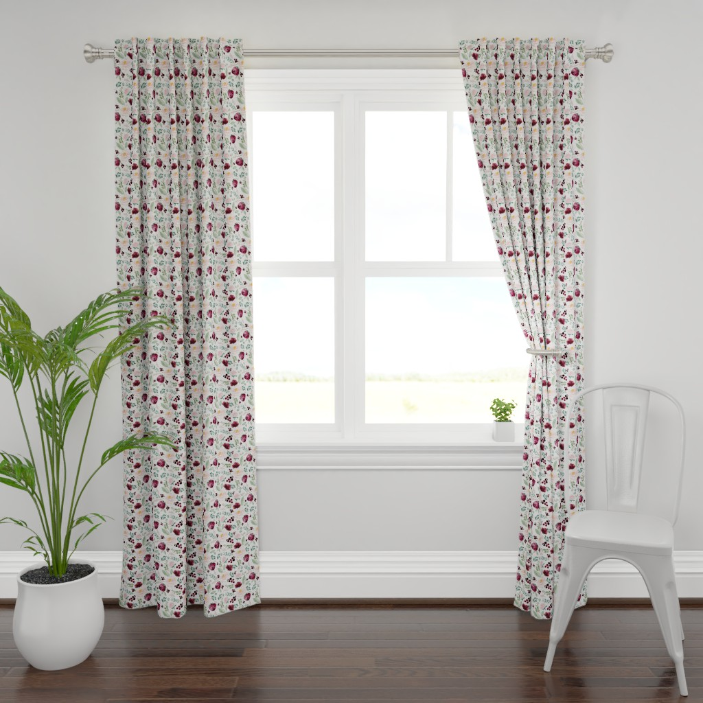 "Plymouth Curtain Panel featuring 8"" Wild at Heart Florals / White by shopcabin"