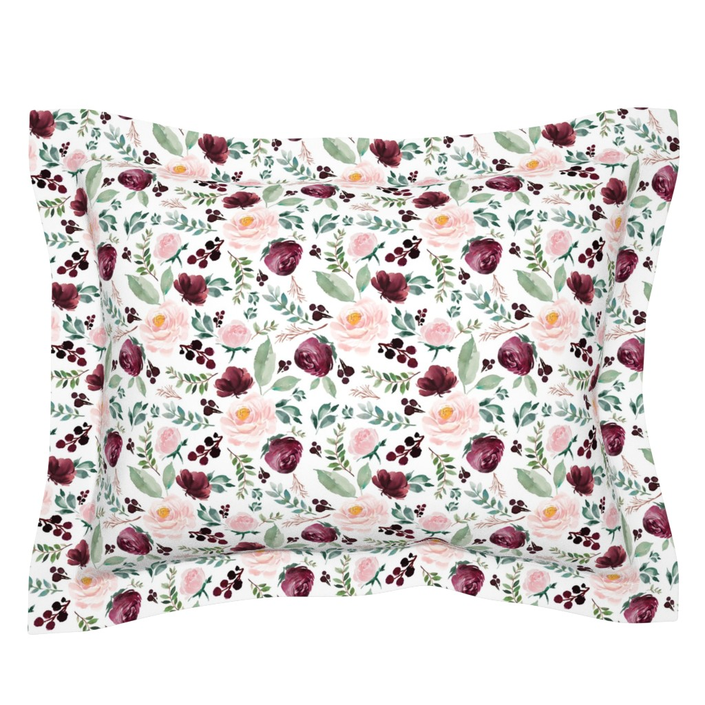 "Sebright Pillow Sham featuring 8"" Wild at Heart Florals / White by shopcabin"