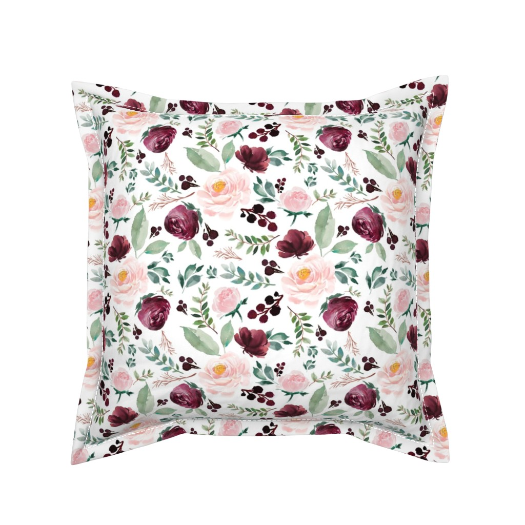 """Serama Throw Pillow featuring 8"""" Wild at Heart Florals / White by shopcabin"""
