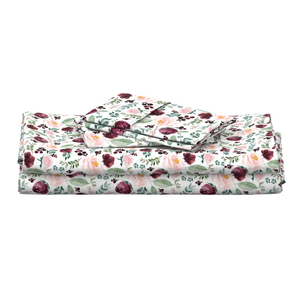 "Langshan Full Bed Set featuring 8"" Wild at Heart Florals / White by shopcabin"