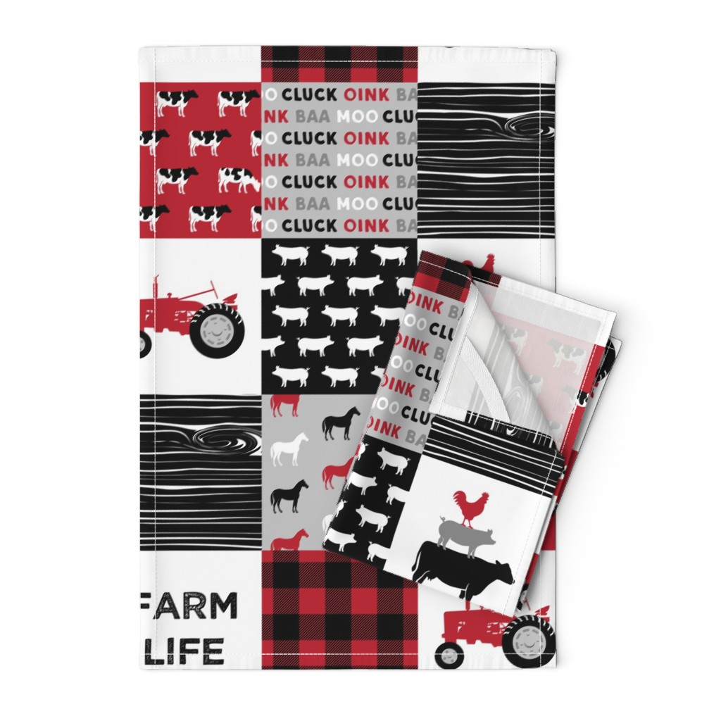 Orpington Tea Towels featuring farm life wholecloth - black and red woodgrain by littlearrowdesign