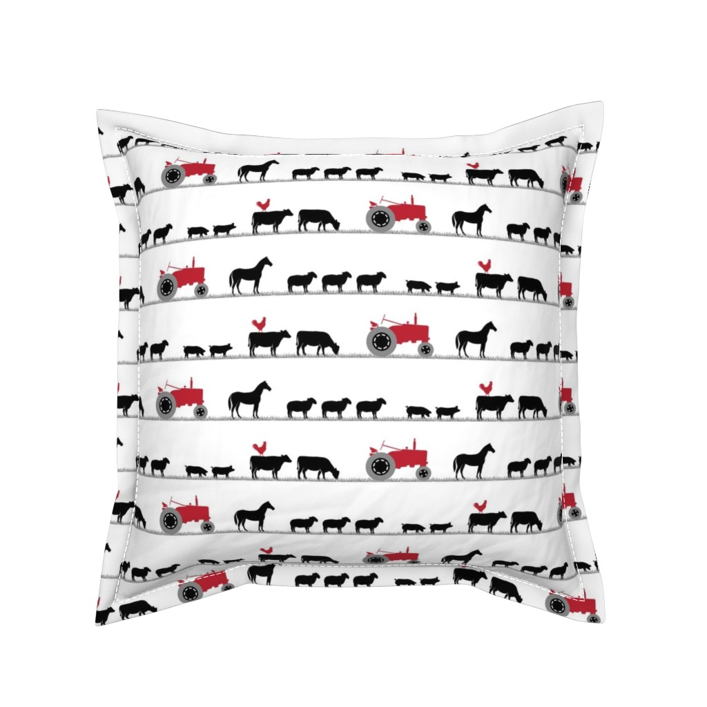 Serama Throw Pillow featuring farm animals on parade - black and red by littlearrowdesign