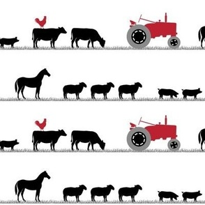 farm animals on parade - black and red