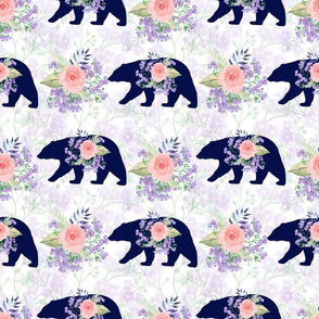 bear and floral,  woodland