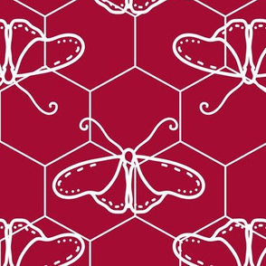 Butterfly Blueprint - 06 - Red and White Negative