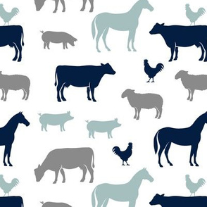 farm animal medley - navy and dusty blue