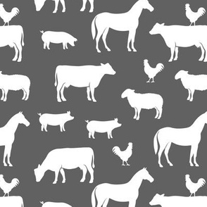 farm animal medley - grey and pink coordinate