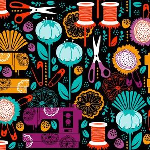 Garden of Sewing Supplies - Black