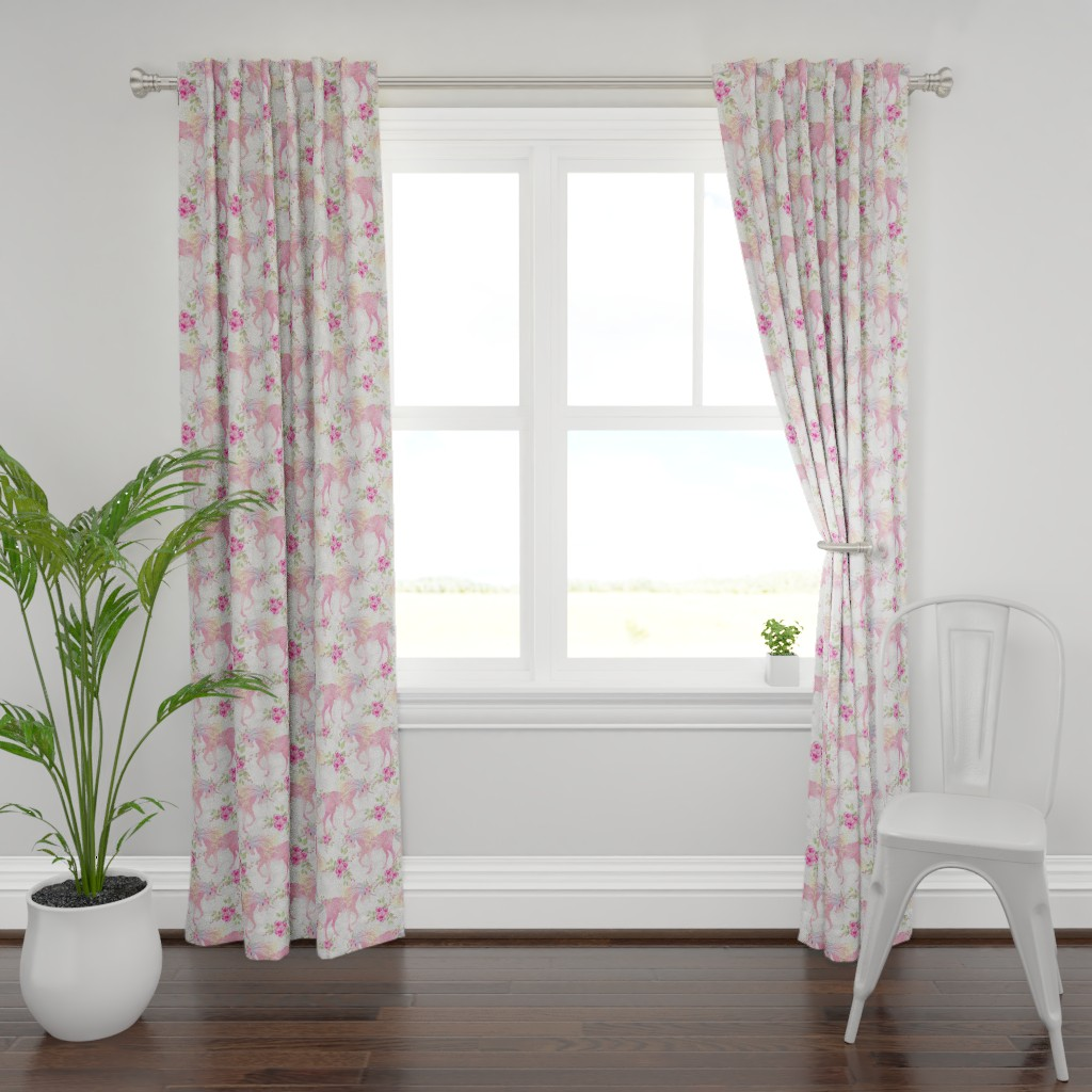 Plymouth Curtain Panel featuring unicorn floral by teart