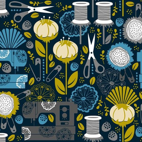Garden of Sewing Supplies - Navy