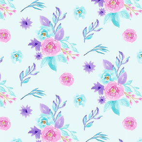Pink Blue Purple Pastel Watercolour Floral