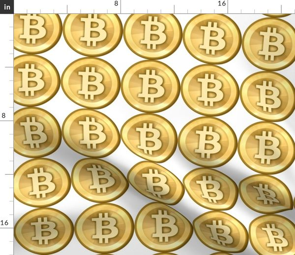 Fabric by the Yard 3 bitcoin coins money cryptocurrency digital currency  gold pop art novelty