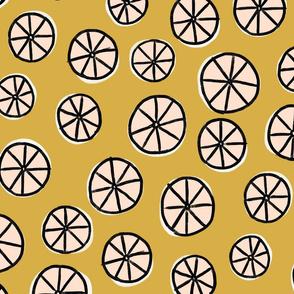African Wheels Geo Print - Spicy Mustard