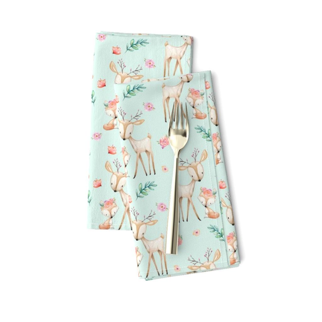 Amarela Dinner Napkins featuring Sweet Deer & Fox (soft mint) - Woodland Animals Flowers Baby Girl Nursery Bedding by gingerlous