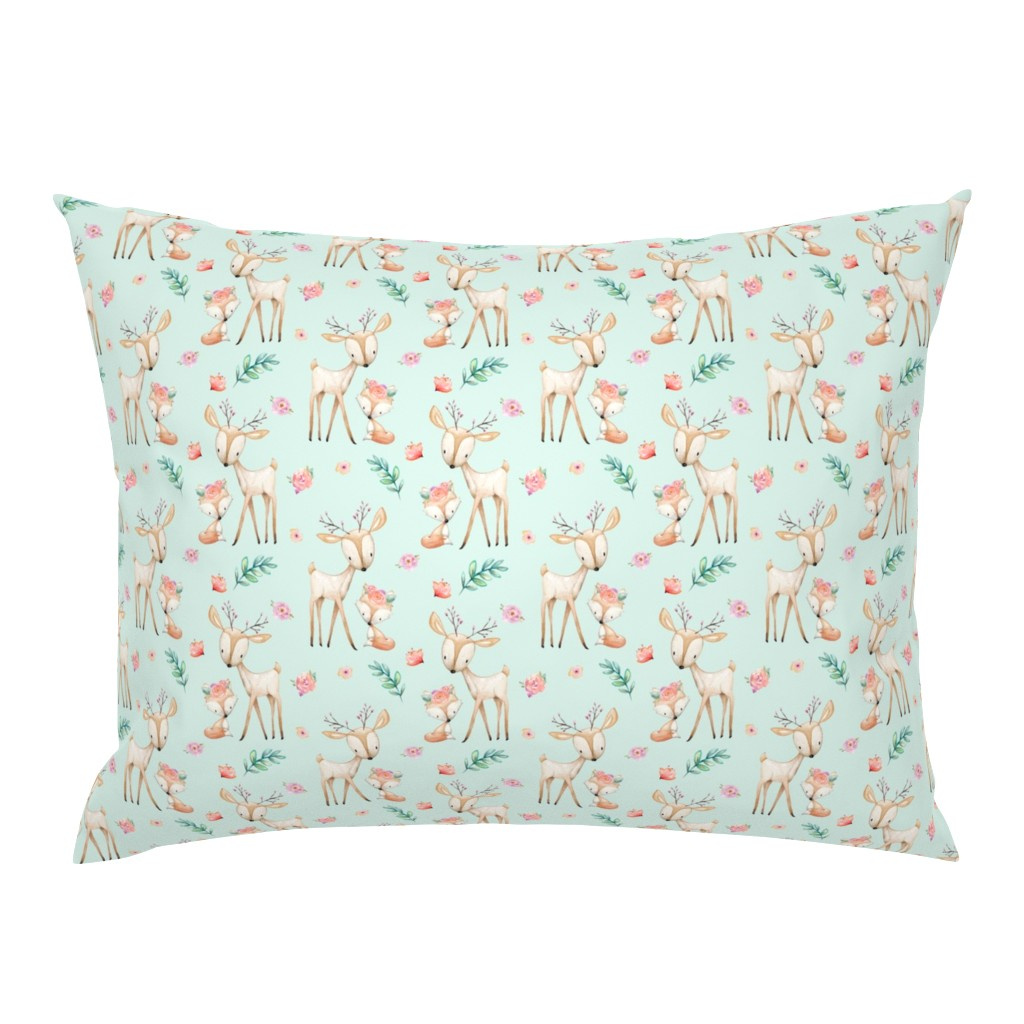 Campine Pillow Sham featuring Sweet Deer & Fox (soft mint) - Woodland Animals Flowers Baby Girl Nursery Bedding by gingerlous
