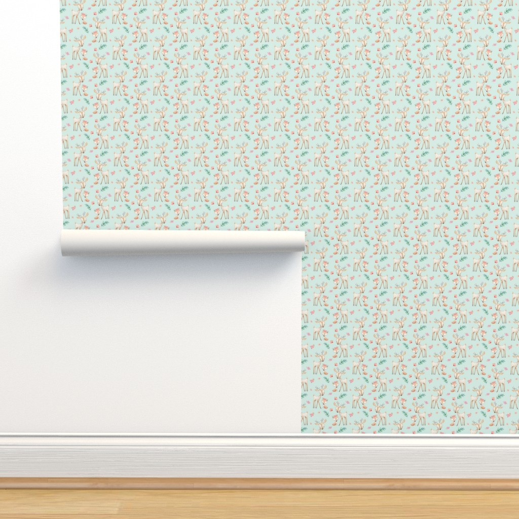 Isobar Durable Wallpaper featuring Sweet Deer & Fox (soft mint) - Woodland Animals Flowers Baby Girl Nursery Bedding by gingerlous