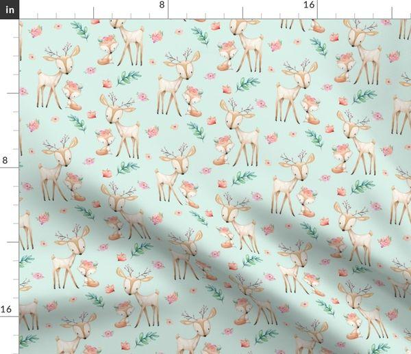 Fabric By The Yard Sweet Deer Fox Soft Mint Woodland Animals Flowers Baby Nursery Bedding