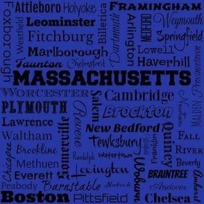 Massachusetts cities, blue