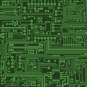 Circuit Board // Light on Dark Green // Small