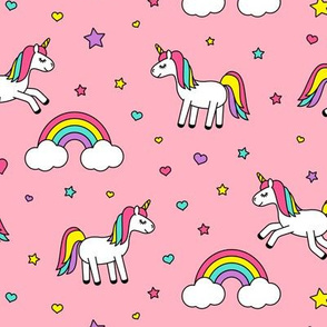 unicorns with rainbows (bright) on pink