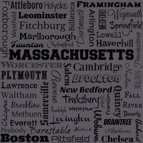 Massachusetts cities, dark gray