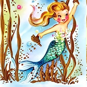 mermaids fairy tales ocean sea seaweeds bubbles corals seashells starfishes  mythical vintage retro kitsch  girls children