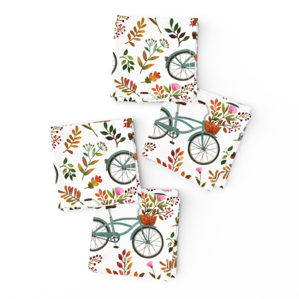 Frizzle Cocktail Napkins featuring autumn bike ride - white, large by mirabelleprint