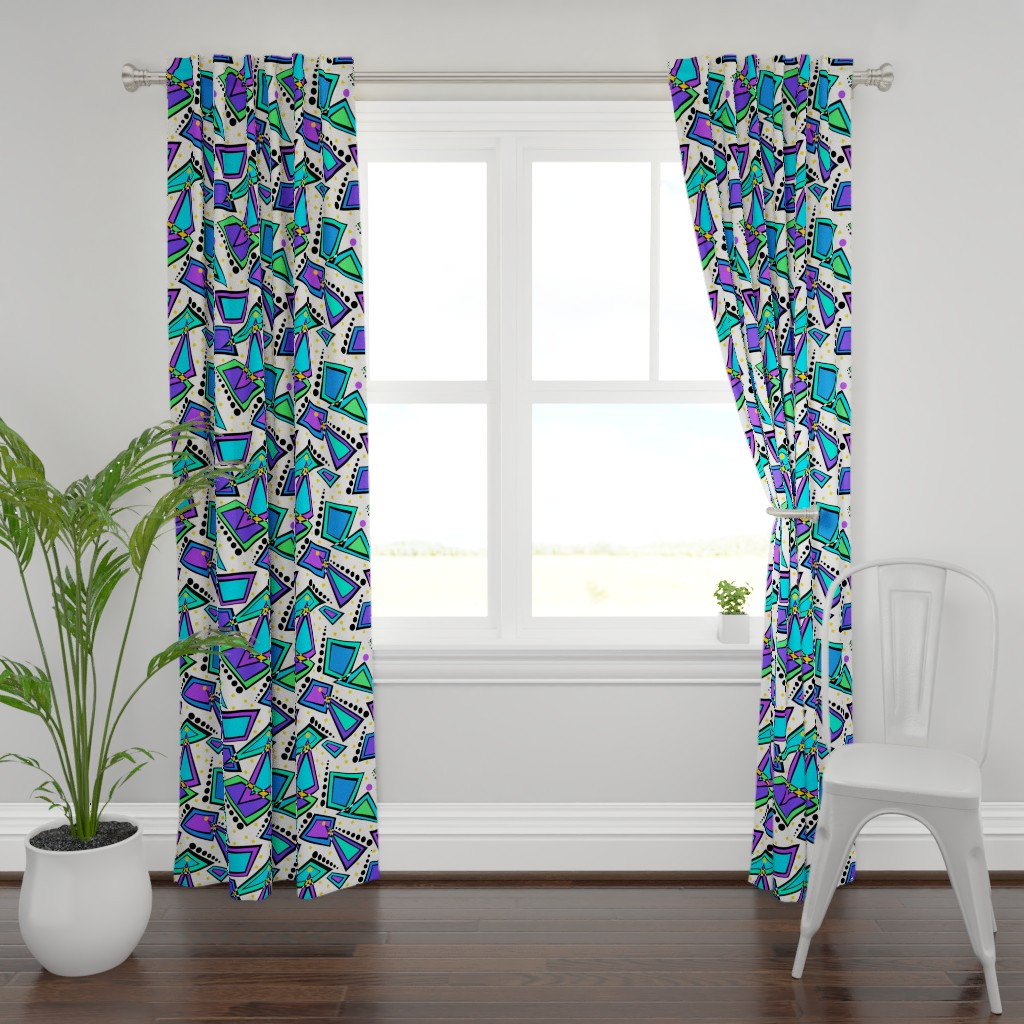 Plymouth Curtain Panel featuring City Lights Memphis Style by theartofvikki