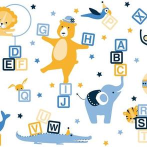 Circus animal alphabet yellow and blue