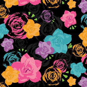 Day of the Dead Purple Floral
