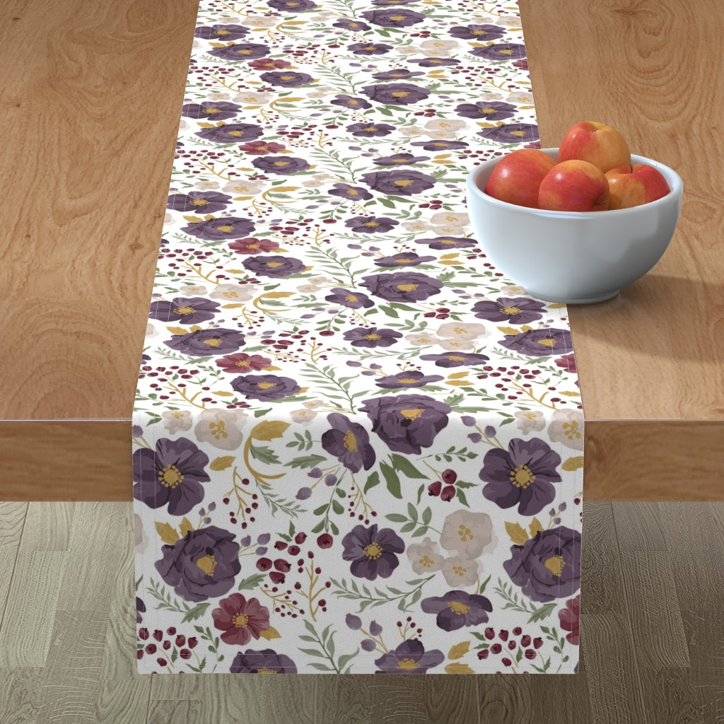 Minorca Table Runner featuring Saturated Autumn Meadow Fall Floral by sweeterthanhoney