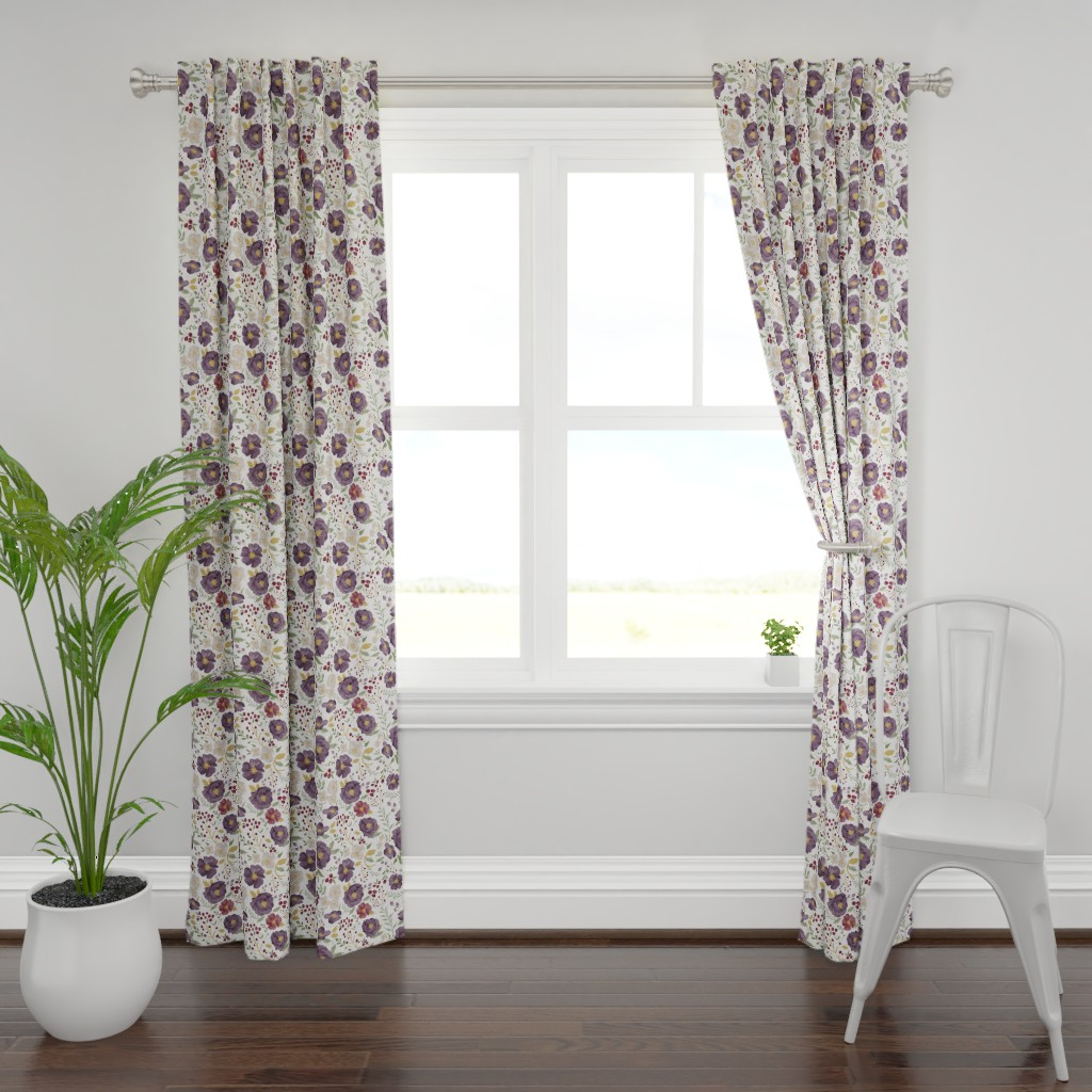 Plymouth Curtain Panel featuring Saturated Autumn Meadow Fall Floral by sweeterthanhoney