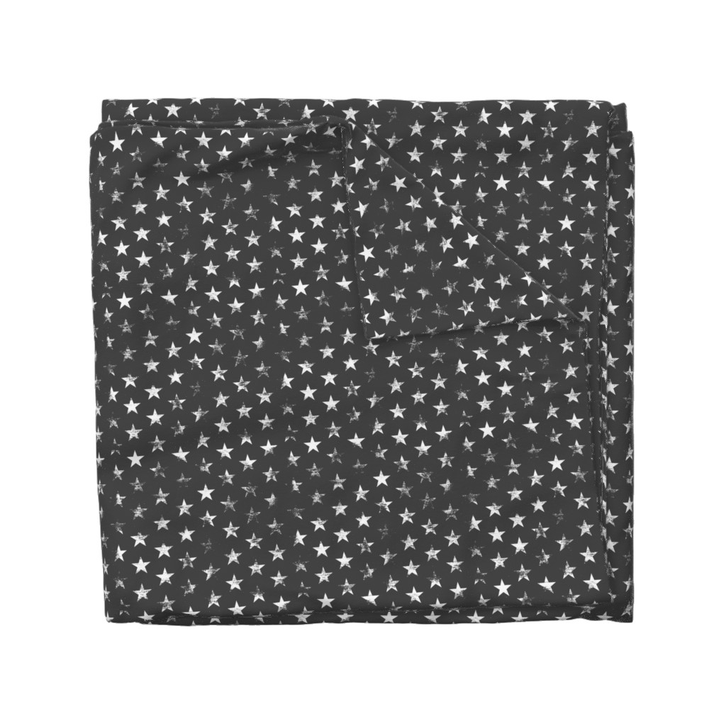 Wyandotte Duvet Cover featuring Distressed White Stars on Charcoal (Grunge Vintage 4th of July American Flag Stars) by sweeterthanhoney