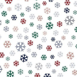 Colorful snowflakes on white – small scale