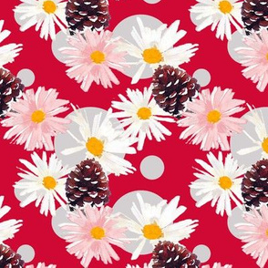 Daisies and Pine Cones Red Upholstery Fabric