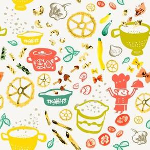 Little chef Pasta and kitchen utensils