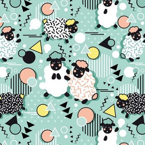 Mééé Memphis sheep // mint background yellow @ peach circles & triangles black & white sheep arrows lines & dots