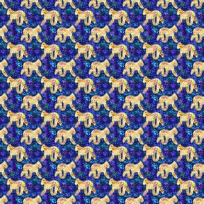 Cosmic Trotting Bedlington Terrier - night