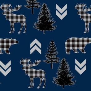 Navy Buffalo Check Wilderness Print