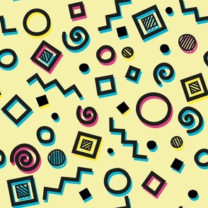 geometris doodles in memphis style