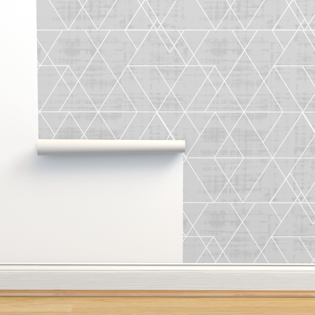 Isobar Durable Wallpaper featuring Mod Triangles Gray by crystal_walen
