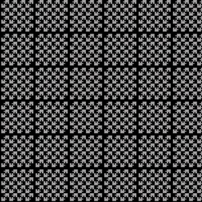 Mini Puzzle Piece Block Grid Black Gray