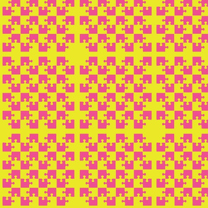 Puzzle Piece Block Grid Pink Yellow