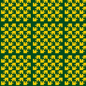 Puzzle Piece Block Grid Green Gold