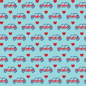 Mini Cooper Hearts - Union Jack Car - Small