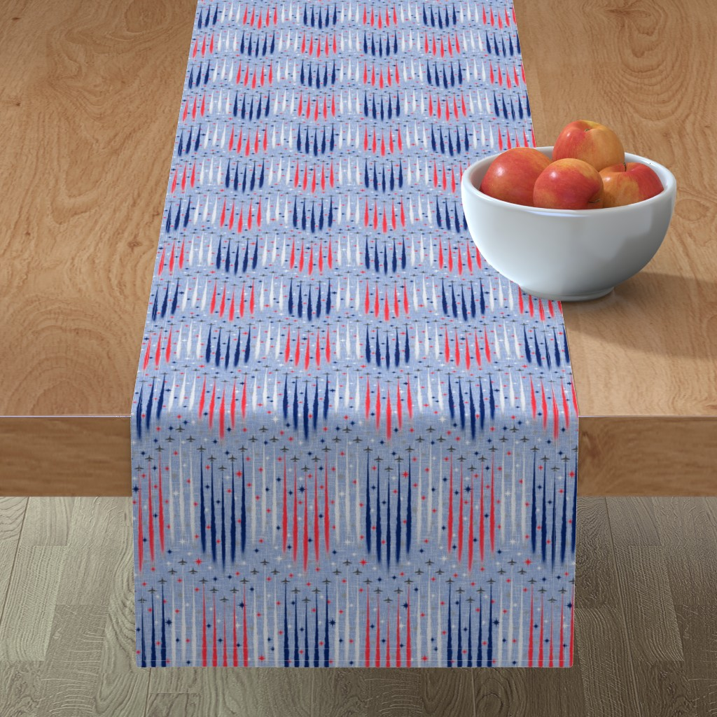 Minorca Table Runner featuring Vintage Patriotic Flyover by inscribed_here
