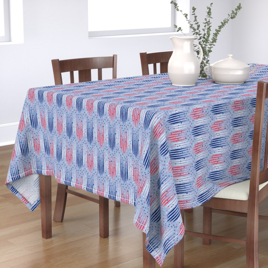 Bantam Rectangular Tablecloth featuring Vintage Patriotic Flyover by inscribed_here