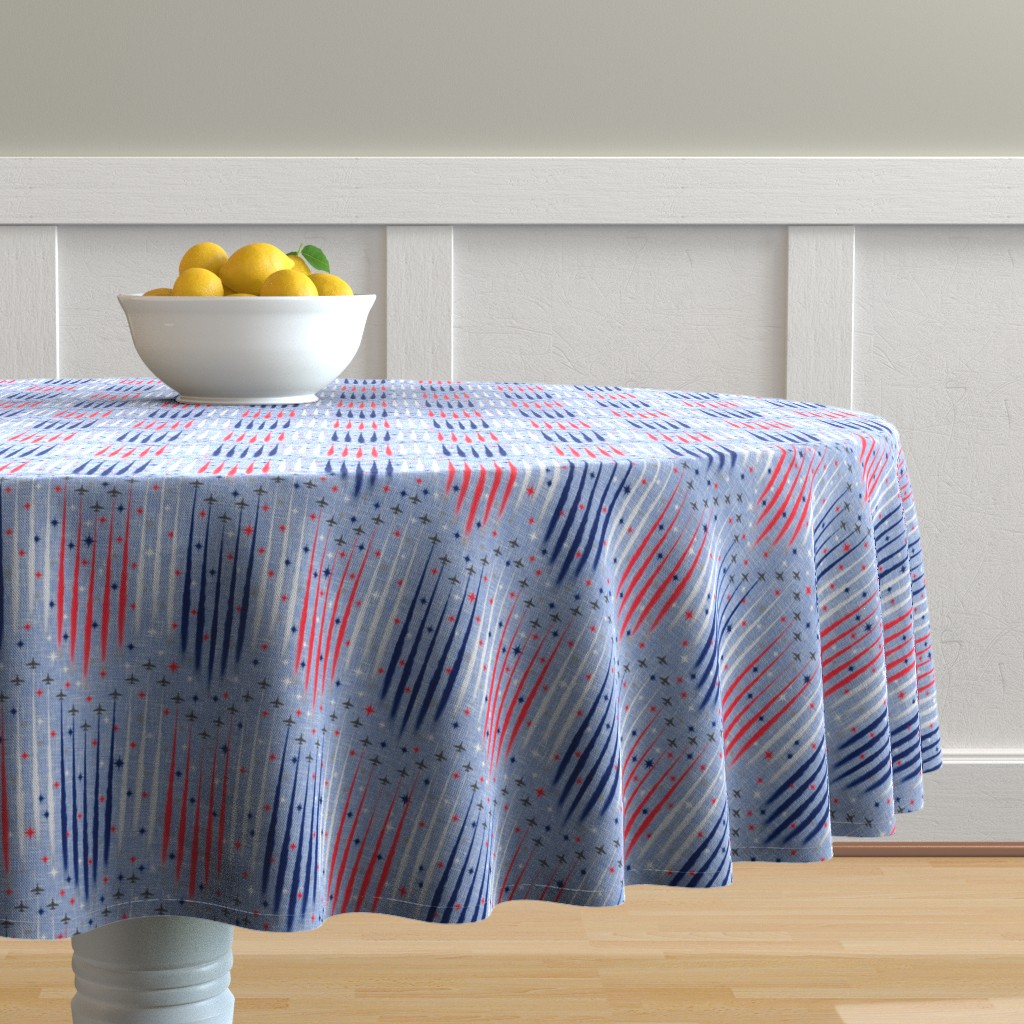 Malay Round Tablecloth featuring Vintage Patriotic Flyover by inscribed_here