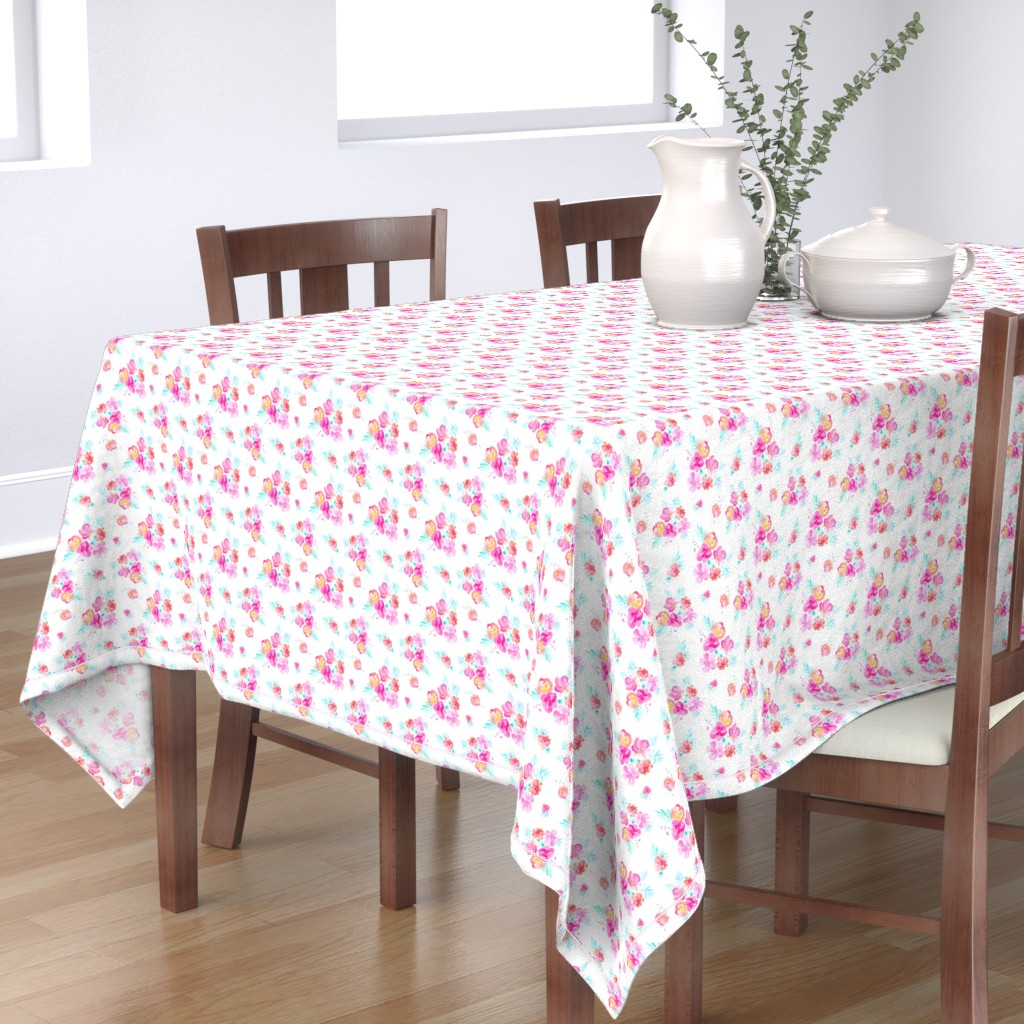 Bantam Rectangular Tablecloth featuring Tropicali Floral Pattern by angiemakes