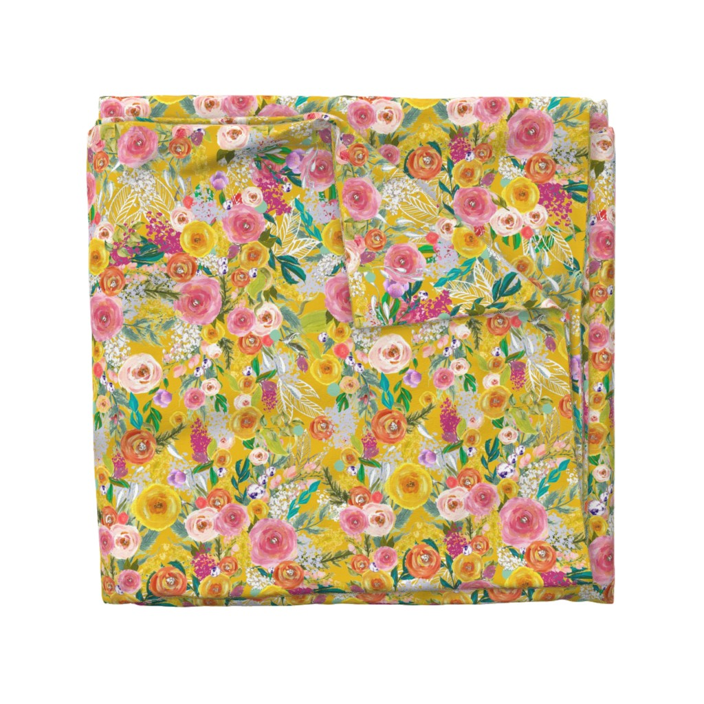 Wyandotte Duvet Cover featuring Autumn Blooms Painted Floral // Mustard by theartwerks